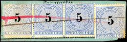 5 Gr. Mittelultramarin/schwarz, Waager. Dreierstreifen Und Einzelstück In üblicher Zähnung Auf...