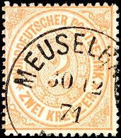 """2 Kr. Orange, Preußen-K1 MEUSELBACH, Kabinett, Fotobefund Mehlmann BPP: """"echt, Farbfrisch, Ohne Mängel,..."""
