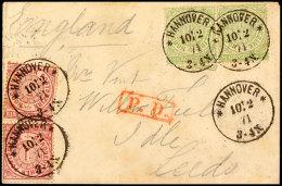 1/3 Gr. Gezähnt Im Waager. Paar Zusammen Mit Zwei Stück 1 Gr. Gezähnt Auf PD-Auslandsbrief, Mit K1...