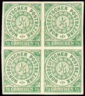 """1/3 Groschen Grün, Abart """"ohne Durchstich"""", Allseits Breitrandiger Viererblock, Tadellos Ungebraucht Mit..."""
