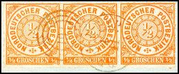 1/2 Gr. Orange, Durchstochen, Waager. Dreierstreifen Auf Briefstück Mit Entwertung Durch Dänischen...