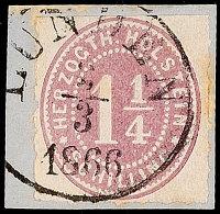 """""""LUNDEN 2.3.1866"""", Klar Und Fast Komplett Auf Briefstück Mit 1 1/4 S. Lebhaftbraunpurpur Durchstochen, Minimal..."""