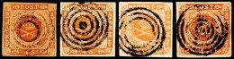 Zusammenstellung Seltener Stummer Stempel: 4 Skilling Mit Folgenden Entwertungen: 4 Ring Ohne Punkt...