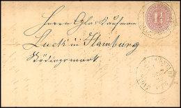 """GLÜCKSTADT BAHNHOF Z 1 12.3.(66)"", 2x Recht Klar Auf Komplettem Faltbrief Mit 1 1/4 S. Lebhaftbraunpurpur..."