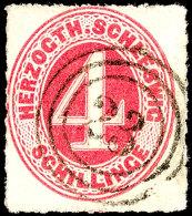 """4 Sch. Karminrot, Farbfrisch, Klarer Dänischer 3-Ring """"23"""" (Hadersleben), Luxus, Fotoattest Möller BPP:..."""