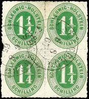 1 1/4 S. Olivgrün Durchstochen Im Viererblock Mit K2 SEGEBERG 6.8.65, Links Mit Nicht Perfektem Durchstich,...