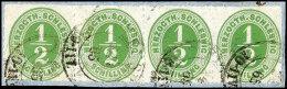 1/2 S. Olivgrün Durchstochen Im Waagerechten 4er-Streifen Auf Pracht-Briefstück Mit K2 FLENSBURG ...