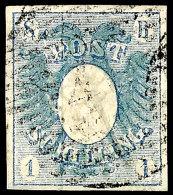 """1 Sch. Blau, Sog. """"Postschilling"""", Farbfrisch Mit Deutlicher Prägung Des Mittelstückes, Allseits..."""