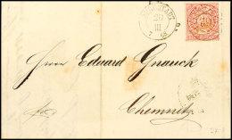 """""""62"""" - Burgstädt, Klar A. Brief Mit 1 Gr. NDP Nach Chemnitz, Brief Zweimal Gefaltet (alter Ausruf 50),..."""
