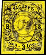 """""""112"""" - Bodenbach, Klarer Und Zentrischer Abschlag Auf Tadelloser 3 Ngr. König Johann I., Marke Mit..."""