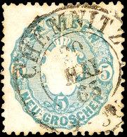 5 Ngr. Wappen, Graublau, Klarer K2 CHEMNITZ, Kabinett, Gepr. Rismondo BPP, Mi. 60,-, Katalog: 19a O5 Ngr. Coat...