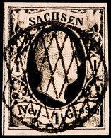 1 Neugroschen Schwarz Auf Mattgraurot, Type II, Vollständig Sichtbare Trennlinie Links Und Ausgeprägter...