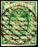 3 Pfennige Dunkelgrün, Erste Auflage, Allseits Vollrandiges Und Farbfrisches Luxusstück, Klar Gestempelt...