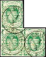 3 Pfennig Grün, Spätere Auflage, Dreierblock Mit Allseits Voll- Bis Breitrandigem Schnitt Außer...
