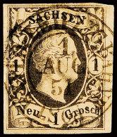 1 Ngr. König Friedrich August II., Schwarz Auf Mattgelbgrau, Erstrangiges Liebhaber-Luxusstück Im...