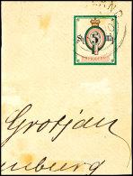 """5 Mk Wertziffer Im Oval, Mit Engl. Rundstempel Type V """"HELIGOLAND .. 8 1890"""" Auf Briefstück. Die Marke Ist Im..."""