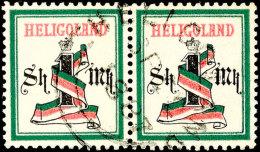 """1 Mark Blaugrün/mittelrosa, Waager. Paar, Zentr. Gest. """"HELIGOLAND SP 2 1887"""", Gepr. Lemberger BPP, Mi. 800,-,..."""