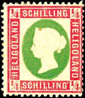 1/4 Sch. Königin Viktoria, Dunkelrotkarmin/lebhaftgelblichgrün, Ungebraucht Mit Originalgummierung, Rs....