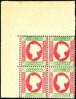 3/4 Sch. Königin Viktoria, Hellgrün/rosa, Viererblock Vom Eckrand Oben Links, Ungebraucht Mit...