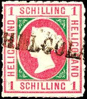 1 Schilling Rosakarmin/dunkelgrün, Allseits Tadellos Durchstochenes Und Farbfrisches Kabinettstück, Klar...