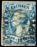 10 Ngr. Cyanblau, Farbfrisches, Dreiseitig Gut Vollrandiges, Rechts Angeschnittenes Exemplar Mit Starkem...