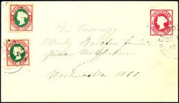 1 Pfg Leipziger Neudruck 1888, Zusammen Mit Originalmarke 5 Pfg Lilakarmin/grün Auf Ganzsachen-Umschlag 10...