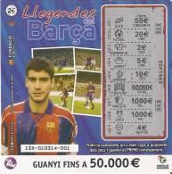 NÚMERO DE LOTERIA LLEGENDES DEL BARÇA GUARDIOLA  (F.C. BARCELONA)(LOTO)  LOTERIA DE CATALUNYA - Billetes De Lotería