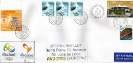 Team Hong-Kong RIO 2016 OLYMPICS, Special Letter Hong-Kong Addressed ANDORRA, With Arrival Stamp - 1997-... Région Administrative Chinoise