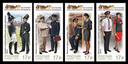 * Russia 2015 Mi. 2199/2202 Uniform Jackets Of Railway Transport Officials MNH **