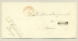 Nederland - 1861 - Portvrije Omslag / Folded Cover Van Arnhem Na Posttijd Naar Duiven - Niederlande