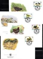 WWF-Set 171 Mohrhuhn TRISTAN DA CUNHA 513/6 FDC 24€ Naturschutz Vögel Dokumentation 1991 Wildlife Birds Covers Of Africa
