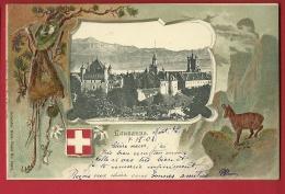 FIP-03 Litho  Lausanne, Avec Chamois, Sac D'alpinistes, Piolet, En RELIEF, GAUFRE. Précurseur. Cachet 1903 - VD Waadt
