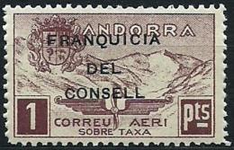 ANDORRA 1932 PAISAJES CON SOBRECARGA FRANQUICIA DEL CONSELL NO EXPENDIDO 28 **
