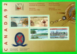 TIMBRES DU CANADA - NH-VF, WORLD PHILATELIC YOUTH EXHIBITION, 1992  - 4 STAMPS SOUVENIR SHEET - SCOTT No 1407 A -