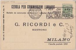 """1927 Modena Ferrovia Targhetta  """"Per'chi'ama'la'propria'salute'Salsomaggiore'""""  Su Cedola Commiss. Librarie  (cat. 1924) - 1900-44 Victor Emmanuel III"""
