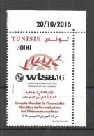 New 2016- Tunisia- World Telecommunication Standardization Assembly- Complete Set 1 V. MNH**( Dated Corner)