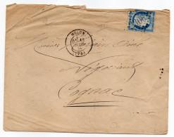 """1874--Lettre De MELUN-""""Gros Chiffres 2306""""sur Tp 60C (type III) Pour Cognac-16---Melun Cachet Type 17 - 1849-1876: Classic Period"""
