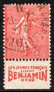 "FRANCE 1924 - 50c Semeuse Lignée With ""c"" Closed Plus Publicity Label At Bottom - 1903-60 Sower - Ligned"