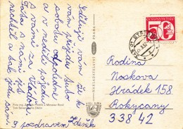 K9696 - Czechoslovakia (1982) 349 01 Stribro (postcard: Klokoty); Tariff: 50 H; Stamp: Telecommunications