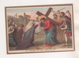 IMAGE PIEUSE ANCIENNE LE CHRIST ET SAINTE VERONIQUE  - MAISON DE LA BONNE PRESSE PARIS - DORURE - VOIR LES SCANNERS - Images Religieuses