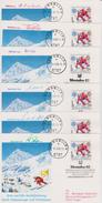 Sport 370) Österreich Mi# 1695 (6x): Postbeförderung Durch Olympiasieger Weltmeister U.a. Von Heidi Biebel, Toni Sailer