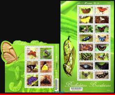 Ref. BR-V2016-23-3 BRAZIL 2016 - BRAZILIAN BUTTERFLIES,, MERCOSUR ISSUE, BUTTERFLY, SHEET+MS MNH, INSECTS 22V - Blocs-feuillets