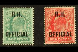 "OFFICIALS 1902 ½d Blue-green & 1d Scarlet, Royal Household ""R.H. OFFICIAL"" Overprints, SG O91/2, Fine..."