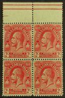 1922-26 2s Red On Emerald Wmk MCA, SG 174, Superb Never Hinged Mint Upper Marginal BLOCK Of 4, Very Fresh. (4...