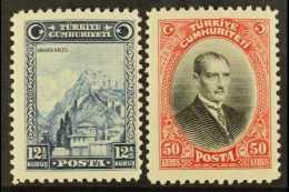 "1929 (first ""U"" Of ""CUMHURIYETI"" Without Umlaut) 12½k And 50k, Mi 889/90, Fine Mint, Very Lightly Hinged...."