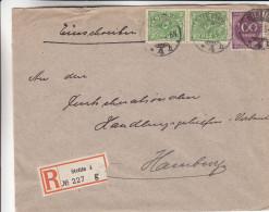 Allemagne - Empire - Lettre Recommandée De 1923 ° - Oblitération Stettin - Expédié Vers Hamburg