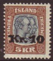 1930 10kr On 5kr Light Brown And Slate-blue, Facit 107 (Michel 141), Mint. For More Images, Please Visit...