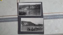 2 PHOTOS ANCIENNES COLLEES SUR UN CARTON - MARCKOLSHEIM 67 BAS RHIN - PONT DE BATEAUX - Lieux