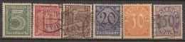 Timbres - Allemagne  - Service - 1920 - N° 9 à 14 - Avec 21 -