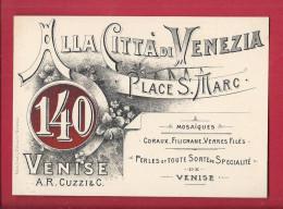VENISE - CARTE PUBLICITAIRE Alla Citta Di Venezia PIAZZA SAN MARCO Souvenir Verrerie - CARTON ETIQUETTE - Venetië (Venice)